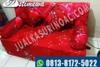 sofa bed kembang merah